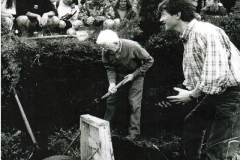 Eamon Murray & Bernard Dolan, Cloonkeen demonstrating how turf was cut traditionally