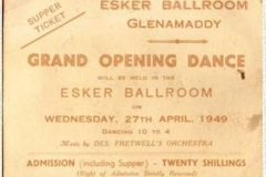 Esker Ballroom Grand  Opening Dance Ticket 1949