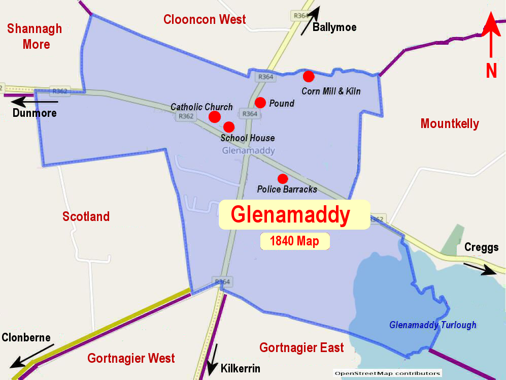 1840_Glenamaddy  Town Map
